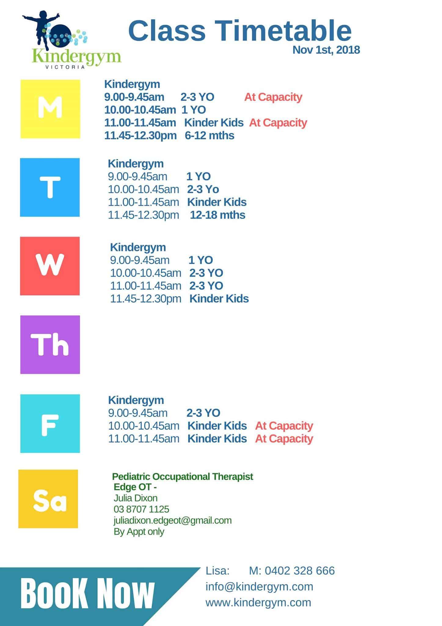 Seaford Kindergym November Timetable