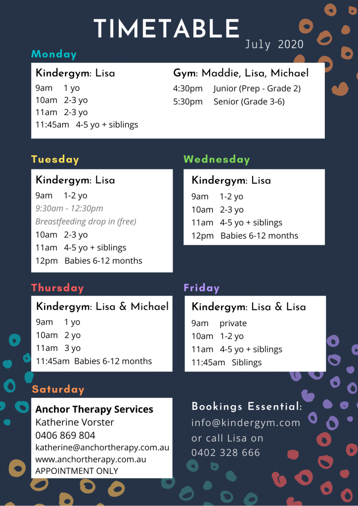 Seaford Kindergym Class Timetable July 2020